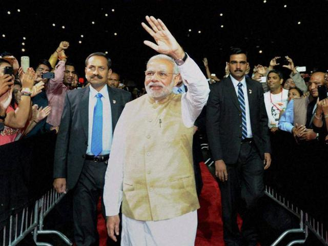 Prime Minister Narendra Modi arrives to address the Indian community at the SAP Centre in San Jose, California on Sunday.