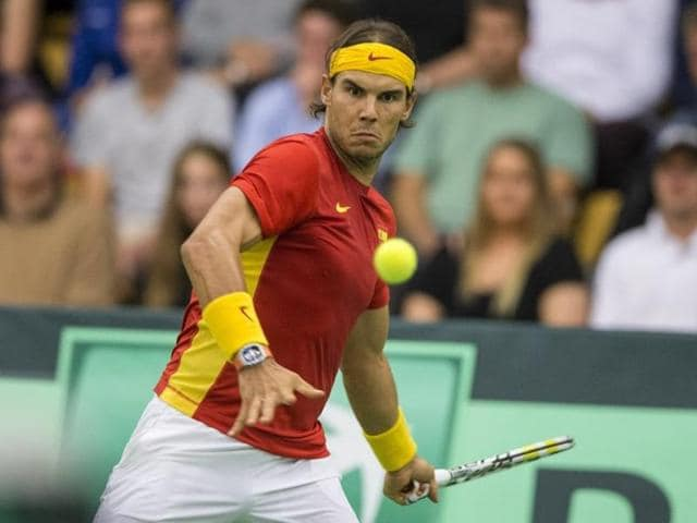 Rafael Nadal of Spain during his Davis Cup tennis match against Denmark in Odense, Denmark.