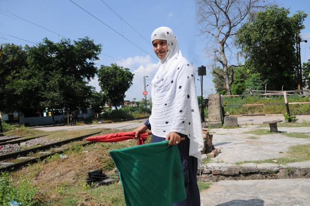 22-year-old Mirza Salmabeg  at  Malhaur railway crossing during her duty hours.
