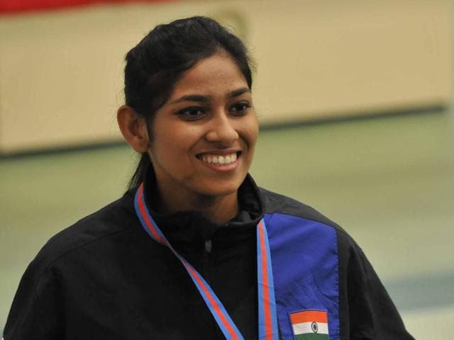 Ayonika Paul won bronze in the 10m air rifle event at the 8th Asian Air Gun Championship in New Delhi on September 28, 2015.