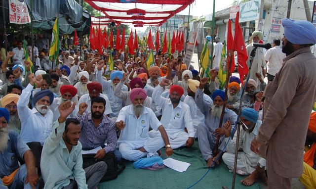 Cotton farmers staging protest in Bathinda on  Monday.
