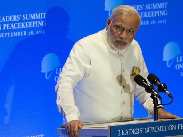 Prime Minister Narendra Modi addresses a summit on peacekeeping to coincide with the United Nations General Assembly at the United Nations in Manhattan, New York.