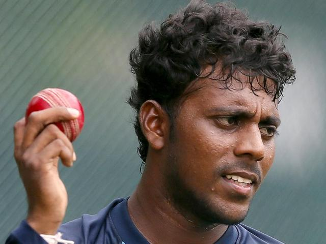 Sri Lanka's Tharindu Kaushal during a practice session ahead of the third and final Test match against India in Colombo, on August 27, 2015.