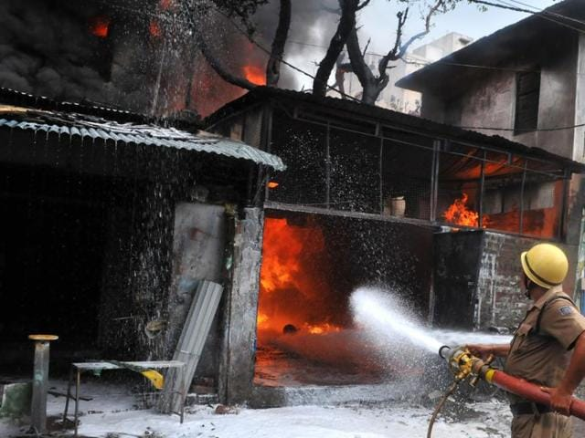 Fire broke at a paint and chemical godown at Chhoti Gwaltoli  in Indore on Tuesday.