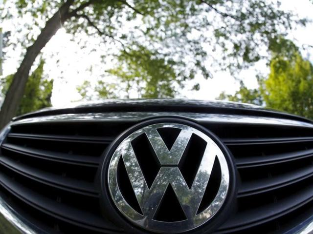 The logo of German carmaker Volkswagen is seen on the front grill of a Passat car in Willmette, Illinois.