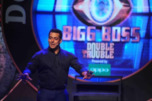 Salman Khan performs during the press conference for the reality show Bigg Boss.