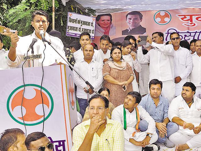 Sachin Pilot addresses the Kisan Swabhiman Rally in Kota.