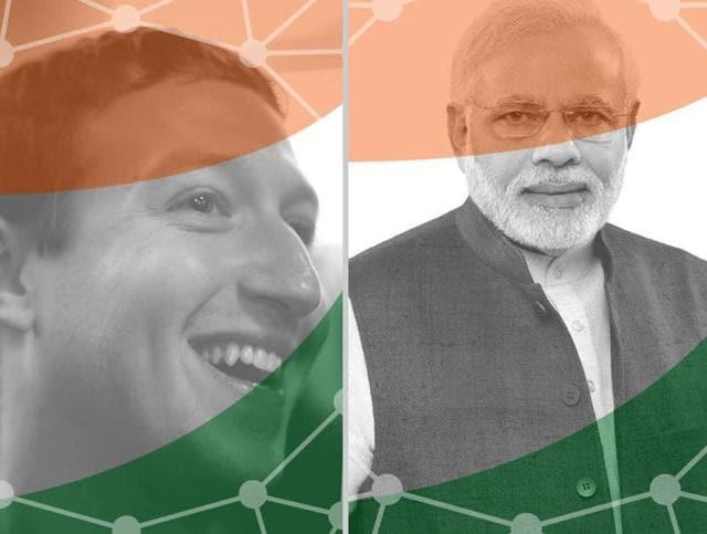 Combination photo of Facebook founder Mark Zuckerberg and Prime Minister Narendra Modi, showing their support for the 'Digital India' campaign.