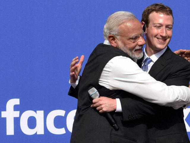 Prime Minister Narendra Modi with CEO of Facebook, Mark Zuckerberg at Facebook headquarters in California on Sunday.