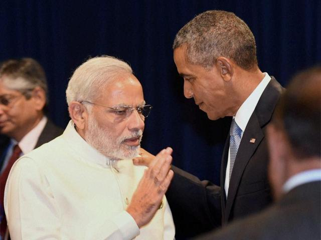PMNarendra Modi holds bilateral talks with US President Barack Obama in New York on Monday.