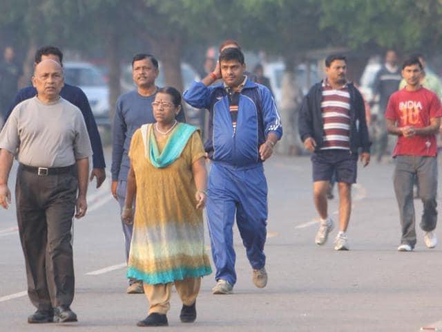 Morning walkers at Morhabadi ground in Ranchi.