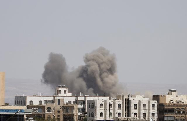 Smoke rises from the site of a Saudi-led air strike on the al-Dailami air base in Yemen's capital Sanaa September 29, 2015.
