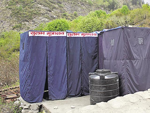 Toilets on the Char Dham Yatra route in Joshimath, Uttarakhand.