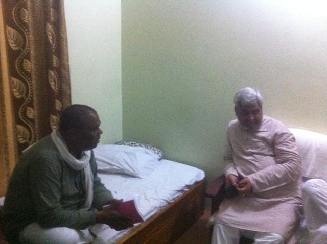 Senior Madhesi leaders, Upendra Yadav and Hridayesh Tripathi, in a Rajbiraj hotel, planning their next moves.(Prashant Jha/HT Photo)