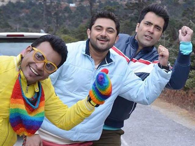 (From left to right) Rudranil Ghosh, Soham Chakraborty and Abir Chatterjee have done playback singing for Raj Chakraborty's Bengali film Katmundu. A still from the film.