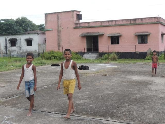 Children play at the helipad in Phulwaria.
