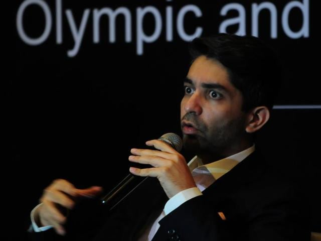 Olympic champion Abhinav Bindra at a felicitation function in Bhopal on Tuesday.