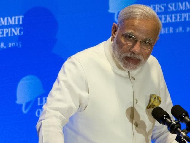 India's Prime Minister Narendra Modi delivers remarks during a Leaders' Summit on Peacekeeping to coincide with the United Nations General Assembly at the United Nations in  New York.