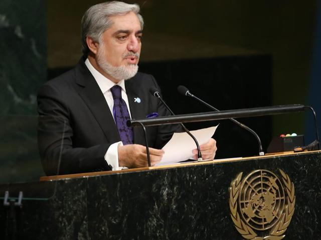 Abdullah Abdullah, chief executive officer of Afghanistan, delivers his address during the 70th session of the United Nations General Assembly at the UN headquarters in New York, US.