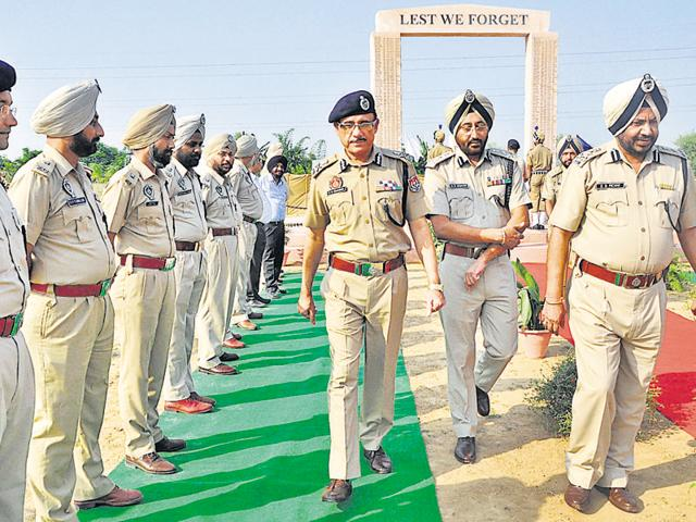 DG Home Guards SK Sharma during the inauguration of Martyr's Memorial at Dera Bassi in SAS Nagar on Wednesday.