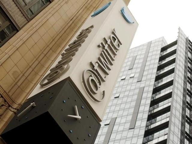 The Twitter logo is shown at its corporate headquarters in San Francisco.