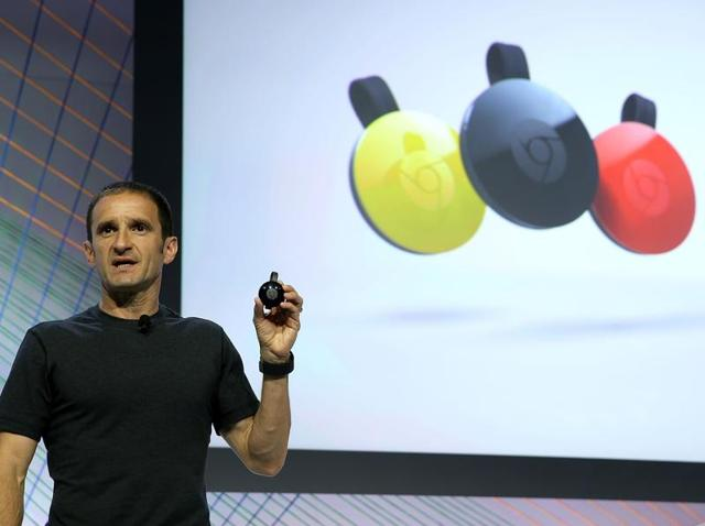 Mario Queiroz, Vice President of Product Management at Google, announces the new version of Google Chromecast during a Google media event  in San Francisco.