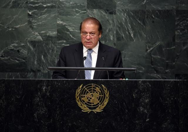 Pakistan's Prime Minister Nawaz Sharif walks to the podium for his address to a plenary meeting of the United Nations Sustainable Development Summit 2015 in New York.