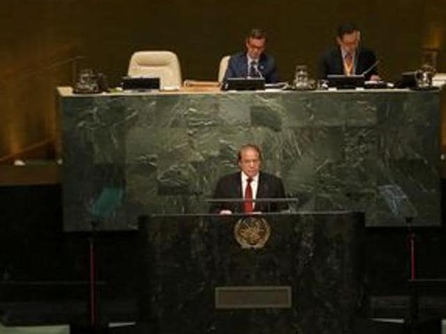Pakistan Prime Minister Nawaz Sharif addresses attendees during the 70th session of the United Nations General Assembly in New York.