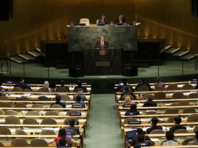 Prime Minister Muhammad Nawaz Sharif of Pakistan addresses attendees during the 70th session of the United Nations General Assembly at the UN Headquarters in New York.