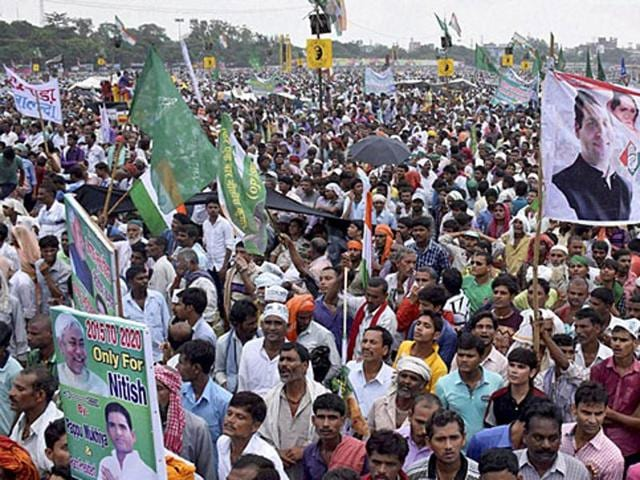 People at a Congress rally at Gandhi Maidan in Patna.