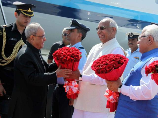 President Pranab Mukherjee being welcomed by Punjab and Haryana governor Kaptan Singh Solanki and Haryana chief minister Manohar Lal Khattar at the Chandigarh airport on Wednesday.