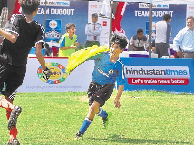 A Heavenly Bodies team player reacts after scoring a goal against Groove Strikers during the HT GIFA match at DPS school RK Puram, in New Delhi, on September 27, 2015.