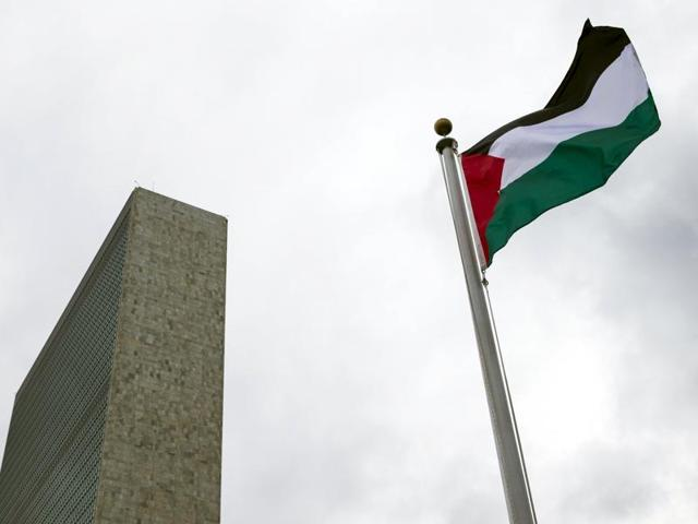 The Palestinian flag flies after being raised by Palestinian President Mahmoud Abbas in a ceremony the United Nations General Assembly at the United Nations in Manhattan, New York.