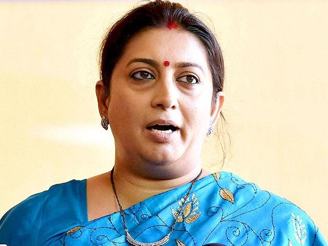 HRD minister Smriti Irani addresses the media during the monsoon session of Parliament.