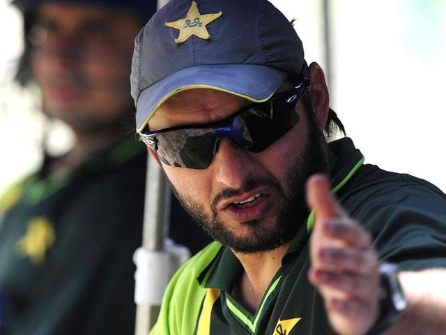 Shahid Afridi gestures during a team training session at The Sher-e-Bangla National Cricket Stadium in Dhaka.
