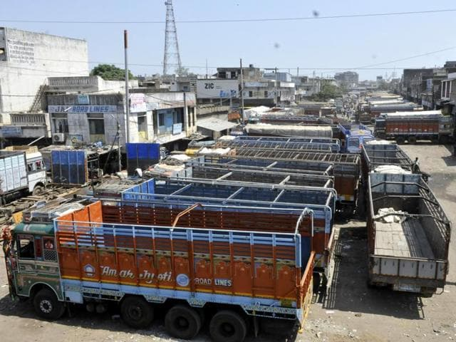 Trucks standing idle at Transport Nagar in Indore on Thursday.