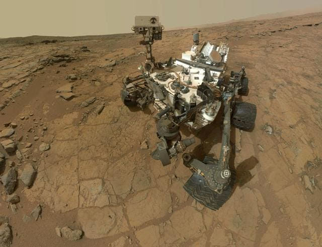 The image, taken by Mars Hand Lens Imager (MAHLI) on board Nasa's Mars rover, shows a self-portrait of Curiosity, the multi-billion-dollar robot dispatched to Mars in search for life.