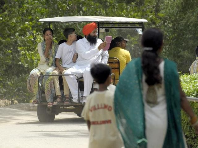 Battery-operated golf carts were a big hit at Chhatbir zoo