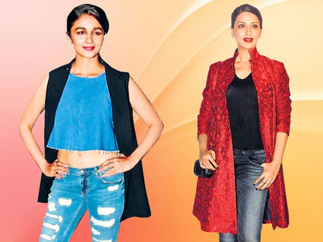 Alia Bhatt and Sonali Bendre paired their summer coats with denims.