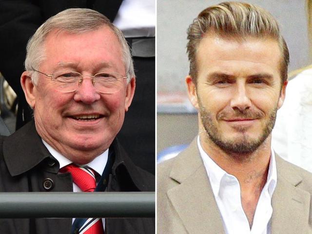 A composite photograph of former Manchester United manager Sir Alex Ferguson, left, and former United player David Beckham.