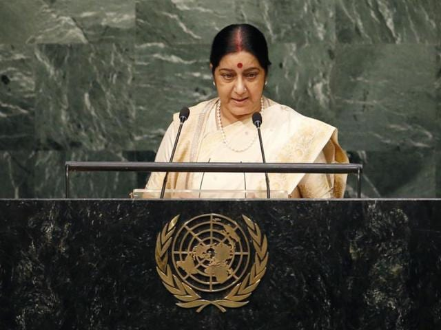 External affairs Sushma Swaraj addresses the 70th session of the United Nations General Assembly at the UN headquarters in New York.