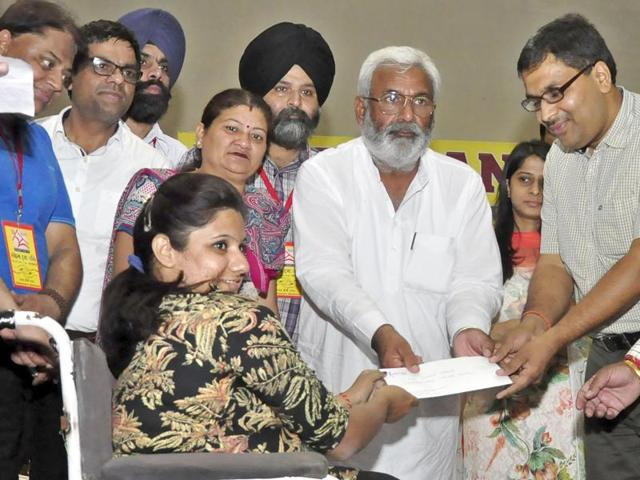 Health and family welfare minister Surjit Jyani inaugurated a job fair for people with special needs at School for Blind and Differently Abled Children, Chandigarh Road, on Friday.