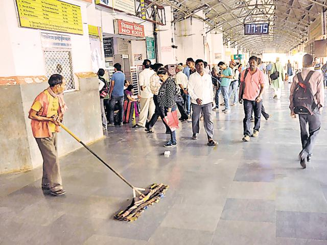 Platform no.1 of Charbagh station looks clean after Swachh Bharat campaign in Lucknow.