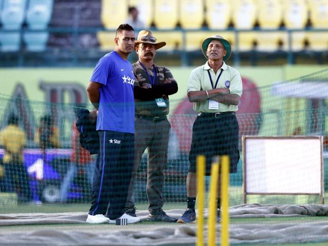 Indian captain MS Dhoni during a net practice session ahead of the first T20 match between India and South Africa in Dharamshala on October 1, 2015.