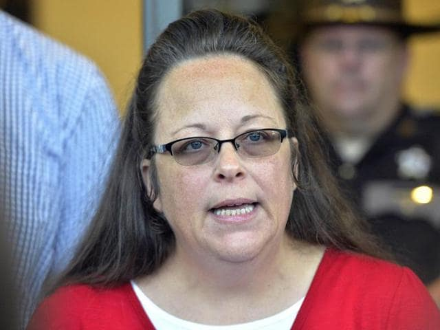 File photo of Kentucky county clerk Kim Davis whose meeting with Pope Francis stirred a controversy. Davis, an Apostolic Christian, spent five days in jail for defying a series of federal court orders to issue same-sex marriage licenses after the Supreme Court legalized gay marriage across US.
