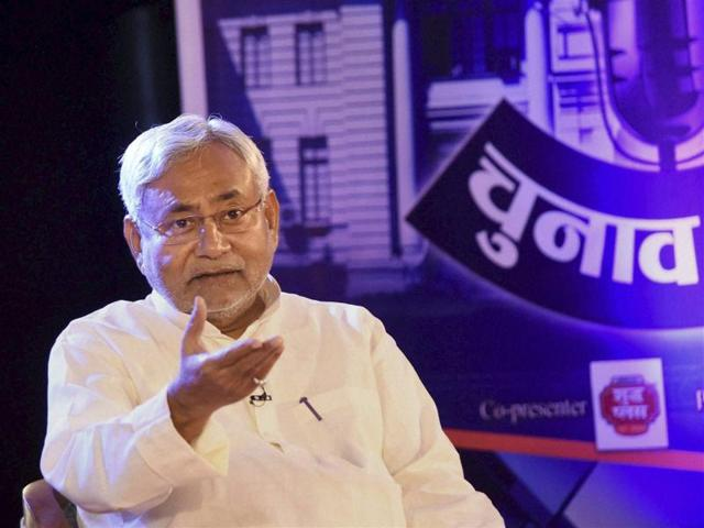 Bihar chief minister Nitish Kumar speaks during an event on Bihar elections in Patna on Tuesday.