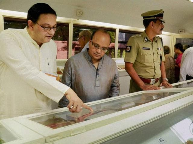 Netaji Subhash Chandra Bose's family members looking at the confidential files on Netaji at Kolkata Police Museum after they were released in Kolkata.