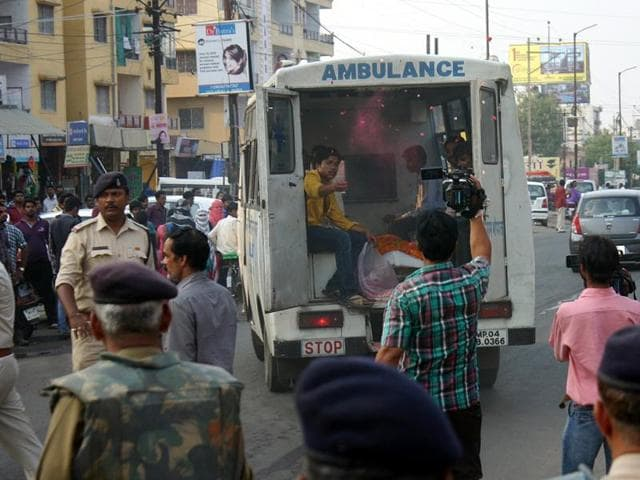 Body of 22-year-old Ajay Khatarkar, who committed suicide in Bhopal on Friday, being taken to cremation ground.