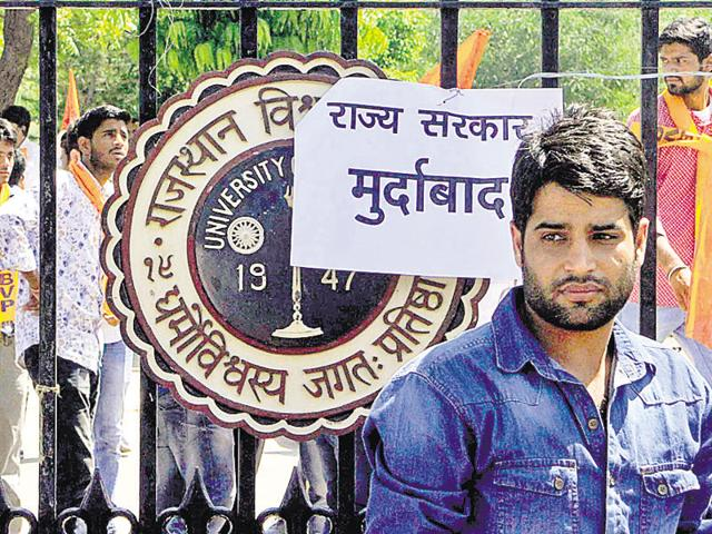 A poster condemning the government over the use of force on agitating students at Rajasthan University, on Thursday.