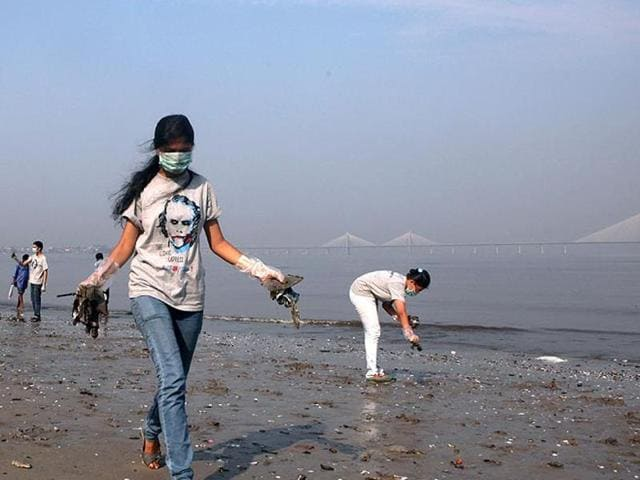 File photo of VJTI College students participating in a nationwide cleanliness campaign Swachh Bharat Mission on the occasion of Gandhi Jyanti at Dadar Beach in Mumbai.